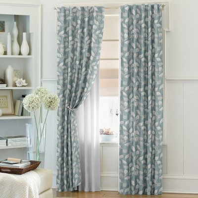 Dreamscape Blends Blue Abstract Eyelet Door Curtain