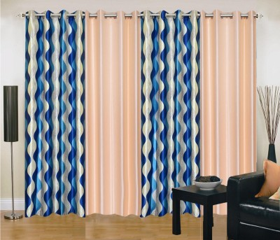 New Trends Polyester Blue, Beige Printed Eyelet Long Door Curtain