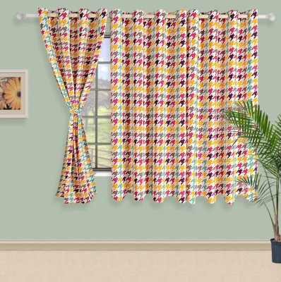 Swayam Satin, Silk Beige, Yellow Printed Eyelet Window Curtain