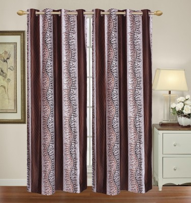HomeTex Polycotton Brown Printed Eyelet Long Door Curtain