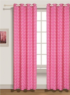 House This Cotton Pink Floral Eyelet Window Curtain