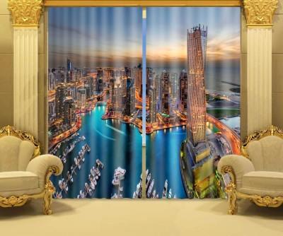 The Intellect Bazaar Polyester Multicolor Printed Eyelet Window & Door Curtain