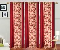 Excel Bazaar Polycotton Maroon Floral Eyelet Long Door Curtain(274 cm in Height, Pack of 3)