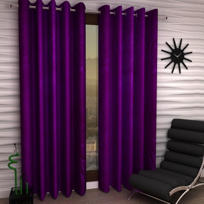 Home Sizzler Polyester Purple Plain Eyelet Long Door Curtain