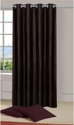 Sai Arpan Polyester Brown Plain Eyelet Window Curtain