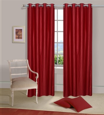 Home Elite Polyester Maroon Plain Eyelet Door Curtain