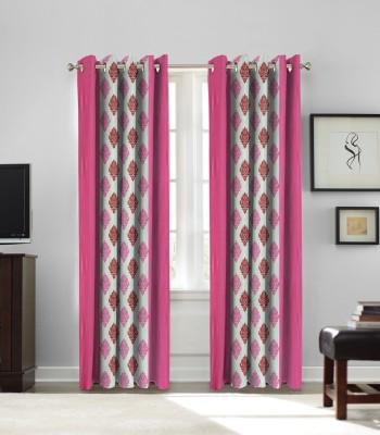 fflaunt Polyester Pink Printed Eyelet Window Curtain