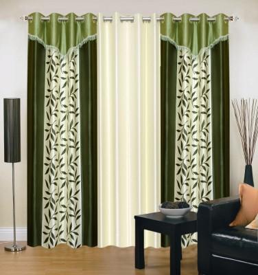 Excel Bazaar Polyester Green, Beige Floral Eyelet Door Curtain