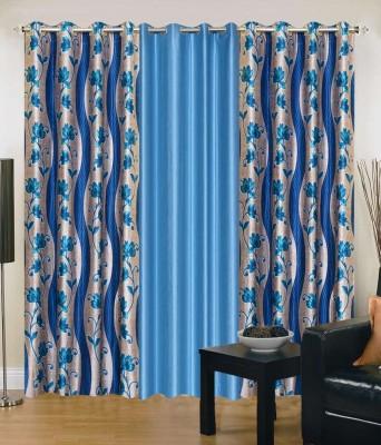 Shopgrab Polyester Blue Printed Eyelet Door Curtain