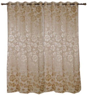 Oona Polyester Gold Floral Eyelet Window Curtain