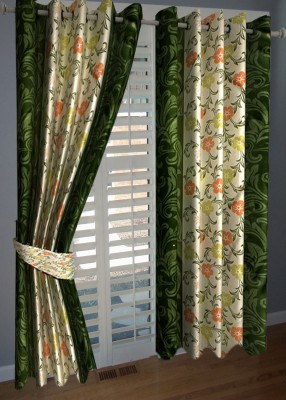 ABhomedecor Polyester Multicolor Floral Eyelet Door Curtain
