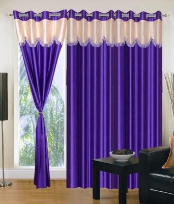 SKE Polyester Purple Plain Curtain Long Door Curtain