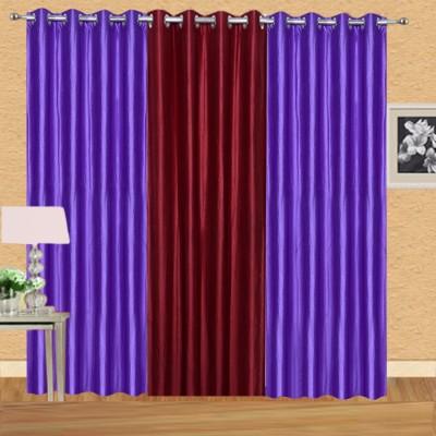 Excel Bazaar Polycotton Purple-1maroon Plain Eyelet Door Curtain