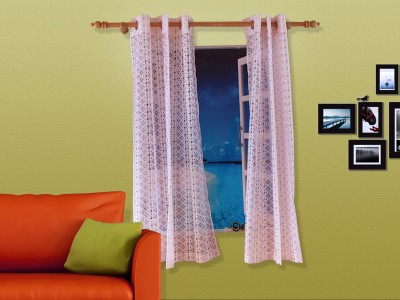 Veer Creations Polycotton White, Pink Geometric Eyelet Window Curtain