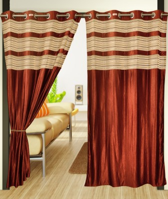 Home Candy Polyester Brown Motif Eyelet Door Curtain