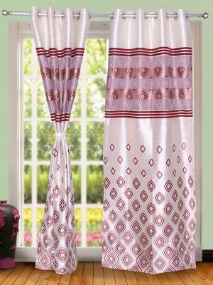 Wind Drape Polyester Maroon Abstract Ring Rod Door Curtain