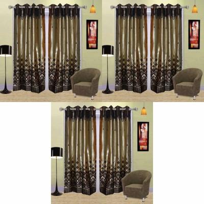 Go Decore PVC Multicolor Self Design Ring Rod Door Curtain