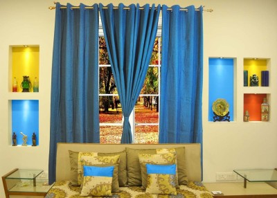 Ariana Cotton Blue Solid Eyelet Window Curtain