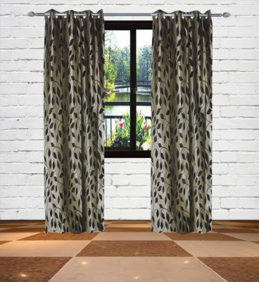Gaurav Curtains Polyester Gold Floral Eyelet Long Door Curtain