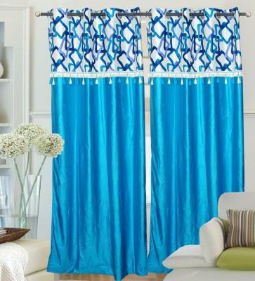 Hargunz Polyester Light Blue Solid Eyelet Door Curtain