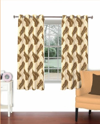 Curtainman Polyester Brown Floral Eyelet Window Curtain