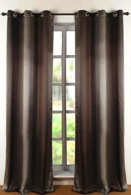Deco Window Polyester Brown Printed Eyelet Window Curtain