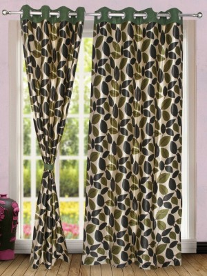 Wind Drape Polyester Olive Green Floral Ring Rod Door Curtain