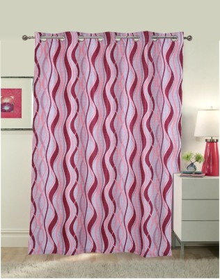 Luk Luck Home Polycotton Pink Printed Ring Rod Door Curtain