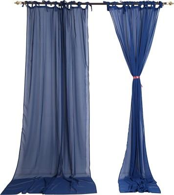 Rajrang Viscose Blue Solid Eyelet Door Curtain