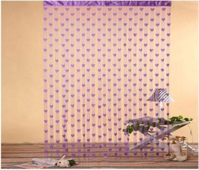 Ramcha Polyester Purple Striped Rod pocket Door Curtain