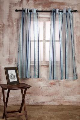 Marigold Polyester Blue Striped Curtain Window Curtain