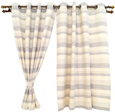 Oona Cotton Multicolor Striped Eyelet Window Curtain