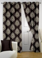 Bedspun Polyester Brown Floral Eyelet Door Curtain(215 cm in Height, Pack of 2)