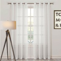 Desirica Polyester White Solid Eyelet Door Curtain(213 cm in Height, Pack of 2)