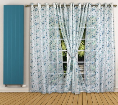 Ariana Tissue Blue Floral Curtain Window Curtain