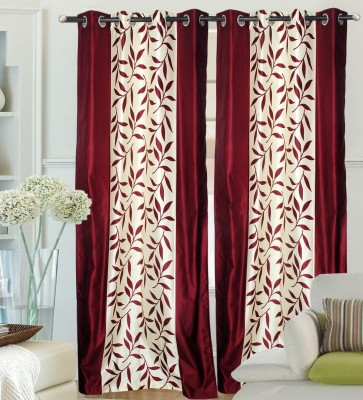 Ville Style Polyester Maroon Floral Eyelet Door Curtain
