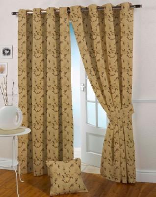 Presto Polyester Brown, Gold Geometric Eyelet Window Curtain