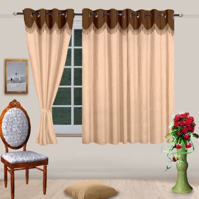 Cortina Polyester Gold Solid Eyelet Window Curtain