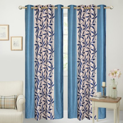 Yellow Weaves Polyester Blue Floral Eyelet Door Curtain