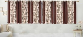 Stella Creations Polyester Brown Printed Curtain Window Curtain