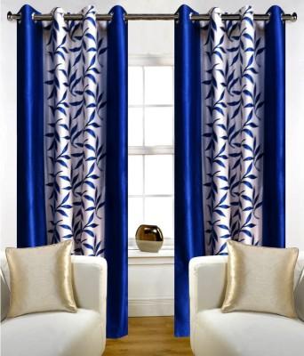 SKE Polyester Blue Striped Eyelet Door Curtain