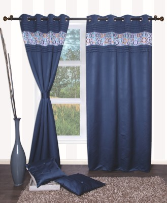 Furniche Polyester Blue Embroidered Ring Rod Window Curtain