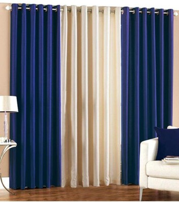 Shiv Fabs Polyester Blue Plain Ring Rod Long Door Curtain