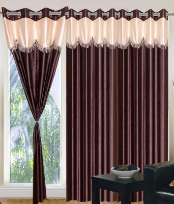 RS Quality Polyester Brown Plain Eyelet Window & Door Curtain