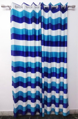 K Gallery Polyester Blue Striped Eyelet Door Curtain