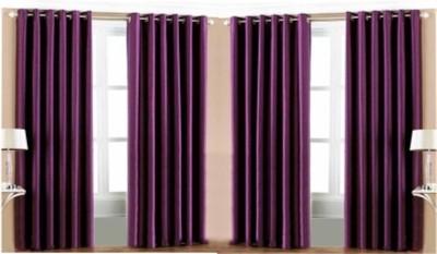 RedHot Polyester Purple Plain Eyelet Long Door Curtain