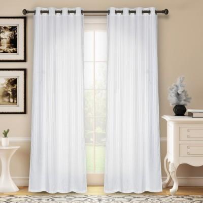 Soumya Polycotton White Plain Eyelet Long Door Curtain