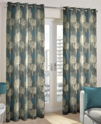 Just Linen Polyester Steel Blue Floral Eyelet Door Curtain