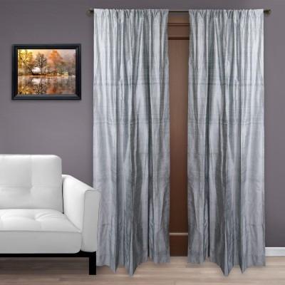 MARMITTE Silk Grey Plain Rod pocket Door Curtain