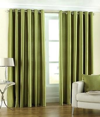 BSB Trendz Polyester Green Plain Eyelet Door Curtain